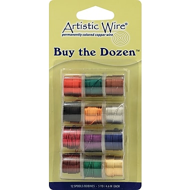 Beadalon BTD-22 Assorted 22 Gauge Artistic Wire, 5 yd., 12/Pack