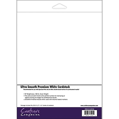 Crafter's Companion Spectrum Noir™ White Ultra Smooth Premium Cardstock, 8 1/2