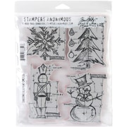 "Stampers Anonymous Tim Holtz 7"" x 8 1/2"" Cling Stamp Set, Christmas Blueprint"