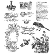 """Stampers Anonymous Tim Holtz 7"""" x 8 1/2"""" Large Cling Stamp Set, Shabby French"""