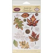 "Justrite® Stampers 6"" x 4"" Clear Stamp Set, Shabby Chic Autumn Leaves"