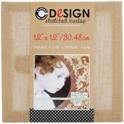 "Canvas Corp CVS1217 Beige Stretched Burlap, 12"" x 12"""