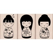 "Hero Arts® 1.9"" x 3 3/4"" Mounted Rubber Stamp Set, Three Japanese Dolls"