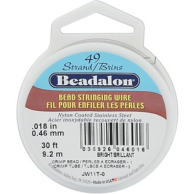 Beadalon JW11T-0 49-Strand Bright Silver Bead Stringing Wire, 30'
