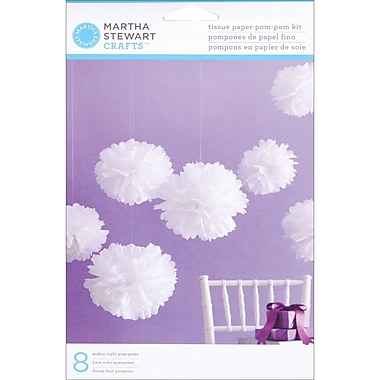 Martha Stewart Tissue Paper Pom Pom Kit, White