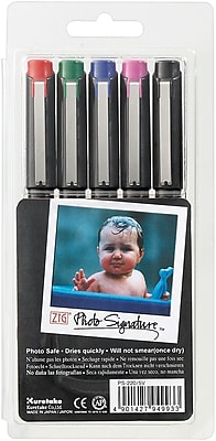 Zig Photo Signature Marker, Assorted, 5/Pack