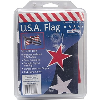 Independence Flag Poly/Cotton Fabric U.S.A. Flag, 3' x 5'