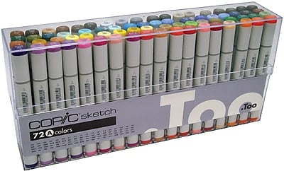 Copic Marker Brush Point Permanent Marker, Assorted, 72/Pack