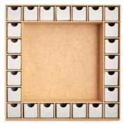 """Kaisercraft Beyond The Page MDF 13"""" x 13"""" ShadowBox With Drawers Advent Calendar, Beige"""