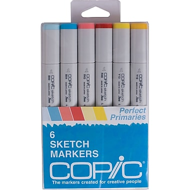 Copic Marker Perfect Primaries Chisel Point Sketch Marker, Assorted, 6/Pack