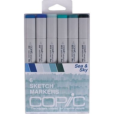 Copic Marker Sea and Sky Chisel Point Sketch Marker, Assorted, 6/Pack