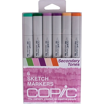 Copic Marker Secondary Tones Chisel Point Sketch Marker, Assorted, 6/Pack