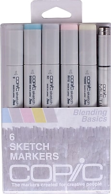 Copic® Marker 6 Piece Multiliner Pen Blending Basics Sketch Markers Set