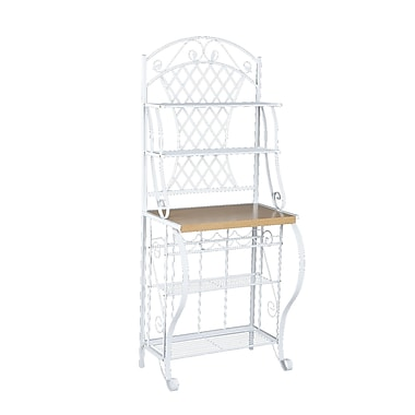SEI Trellis Laminate Oak Baker's Rack Without Drawer, White