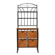 SEI Iron/Wicker Oak Laminate Storage Baker's Rack, Black