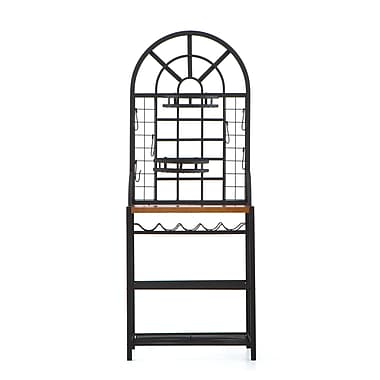 SEI Dome Laminate Oak Baker's Rack, Black