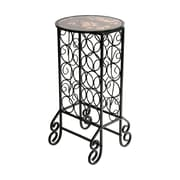 "SEI 4"" Smoked Glass Top Wine Table, Black"