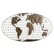 """SEI 25 1/2""""H x 46""""W  Iron World Map Wall Art"""