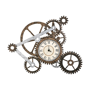 SEI GA1912R Metal Analog Gear Wall Art with Clock, Brown