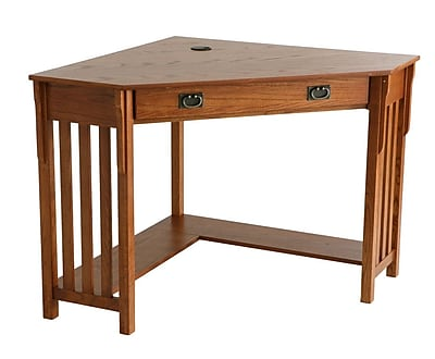 SEI Wood Corner Computer Desk Mission Oak Staples