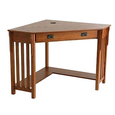 SEI Wood Corner Computer Desk, Mission Oak