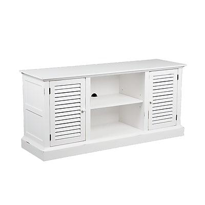 SEI Antebellum Rubberwood/MDF Media Stand, Antique White
