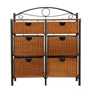 "SEI 38.5"" x 34"" x 13"" Iron/Wicker Storage Chest, Black/Brown"