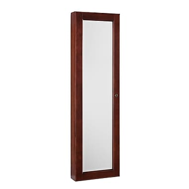 SEI Wood Frame Wall Mount Jewelry Mirror, Cherry /Black Lining