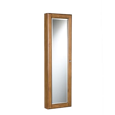 SEI Wood Frame Wall-Mount Jewelry Mirror, Oak/Black Lining