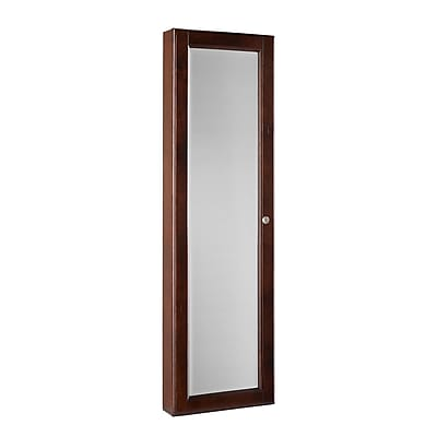 SEI Plywood Frame Wall Mount Jewelry Mirror, Warm Brown Walnut/Black Lining