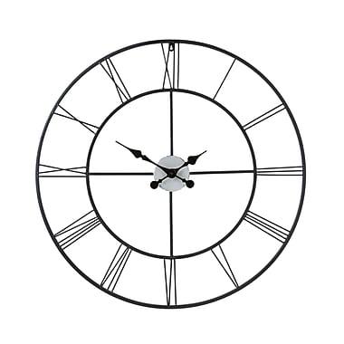 SEI WS1964R Metal Analog Centurian Decorative Wall Clock, Black