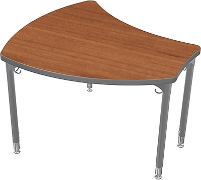 Balt Platinum Legs/Edgeband Small Shapes Desk Without Book Box, Amber Cherry
