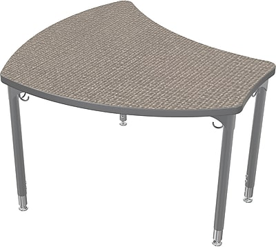 Balt Platinum Legs/Edgeband Small Shapes Desk Without Book Box, Pewter Mesh