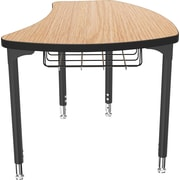 Balt Black Legs/Edgeband Small Shapes Desk With Black Book Basket, Castle Oak