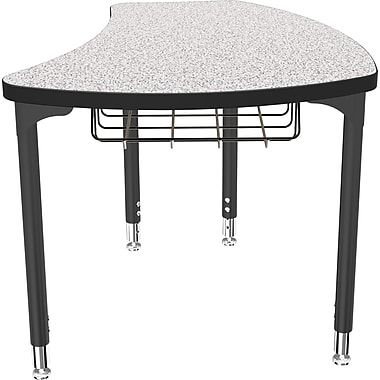 Balt Black Legs/Edgeband Small Shapes Desk With Black Book Basket, Gray Nebula