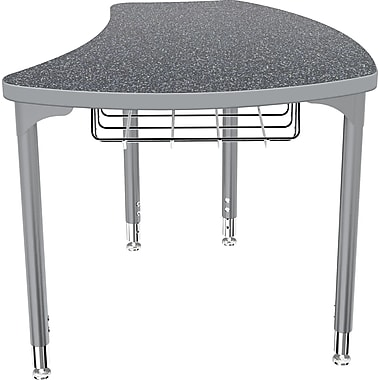 Balt Platinum Legs/Edgeband Small Shapes Desk With Platinum Book Basket, Graphite Nebula