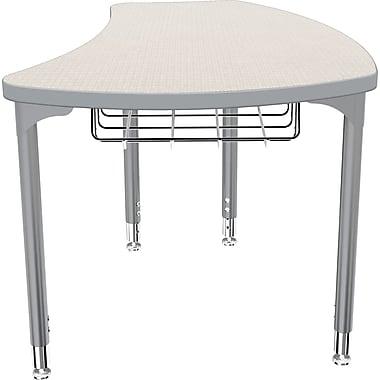 Balt Platinum Legs/Edgeband Small Shapes Desk With Platinum Book Basket, Gray Mesh
