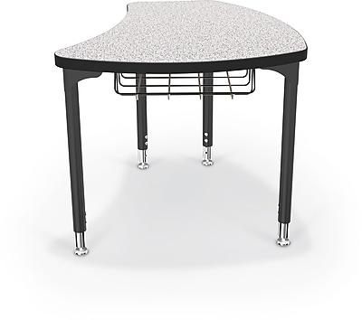 Balt Black Legs/Edgeband Large Shapes Desk With Black Book Basket, Gray Nebula