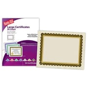 "Blanks/USA® 11"" x 8 1/2"" Astroparch Large Certificate w/Black & Gold Border, Natural, 50/Pack"