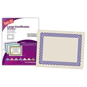 "Blanks/USA® 11"" x 8 1/2"" 60 lbs. Astroparch Large Certificate With Violet Border, Natural, 50/Pack"