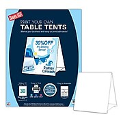 """Blanks/USA 4 1/4"""" x 4"""" White Glossy Table Tent, 15/Pack"""