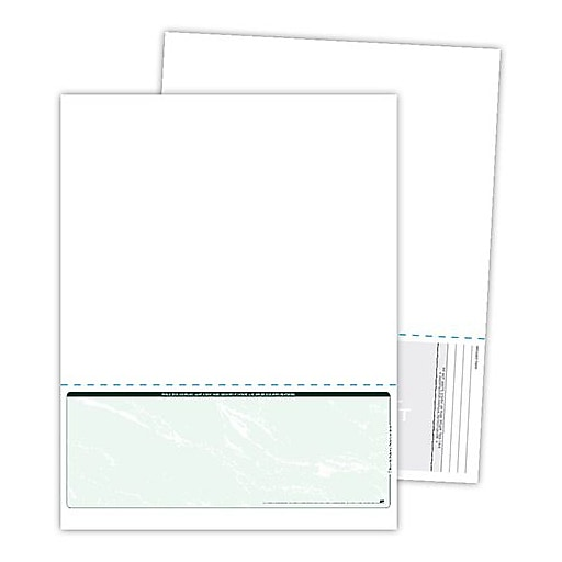 """Blanks/USA® Kan't Kopy® 8 1/2"""" x 11"""" 60 lbs. Security Check on Bottom Papers, Void Green, 500/Pack"""