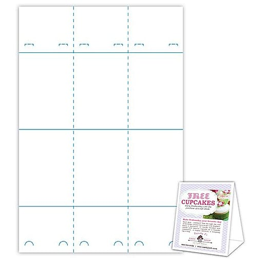 """Blanks/USA® 4"""" x 3 3/8"""" x 5 5/8"""" 80 lbs. Smooth Cover Table Tent, White, 300/Pack"""
