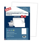 "Blanks/USA® 11"" x 8 1/2"" 7 mil Digital Polyester Stock Synthetic Papers, White, 10/Pack"