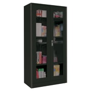 "Sandusky® Elite 36"" x 18"" x 72"" Radius Edge Clearview Storage Cabinet, Black"