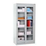 """Sandusky® Elite 72"""" x 36"""" x 18"""" Sliding Door Clearview Storage Cabinet, Dove Gray"""