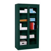 "Sandusky® Elite 72"" x 36"" x 18"" Sliding Door Clearview Storage Cabinet, Forest Green"