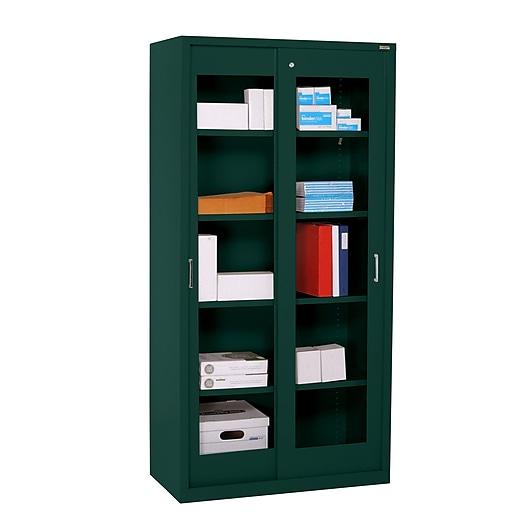 "Sandusky Elite 72""H Sliding Door Clearview Steel Storage Cabinet with 5 Shelves, Forest Green (BV4S361872-08)"