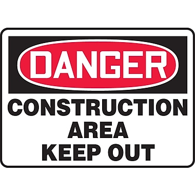Accuform Signs® - Panneau de sécurité « DANGER CONSTRUCTION AREA KEEP OUT », 7 po x 10 po, plastique