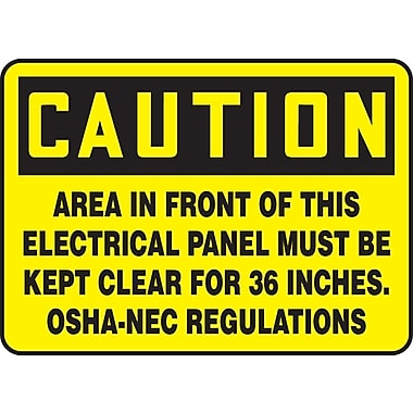 Accuform Signs®-Panneau CAUTION AREA IN FRONT OF ELECTRICAL PANEL MUST BE CLEAR FOR 36 INCHES, 7x10, vinyle adhésif